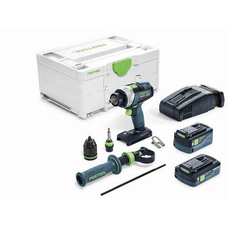 Perceuse-visseuse FESTOOL QUADRIVE TDC 18/4 5,2/4,0 I-Plus-SCA - 2 batteries, chargeur en Systainer - 576766