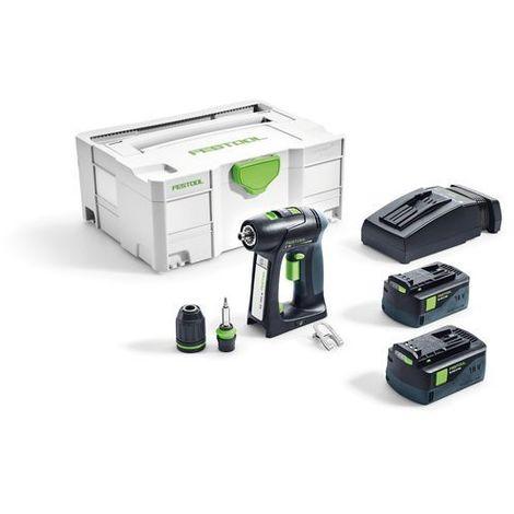 Perceuse visseuse FESTOOL sans fil C 18 Li-Ion 5.2Ah Plus - 2 Batteries, chargeur, coffret - 574738