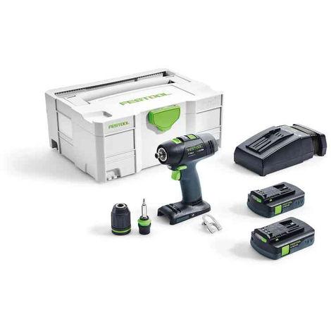 Perceuse visseuse FESTOOL T 18+3 BASIC - 2 Batteries, chargeur ,Coffret Systainer 2 - 574908