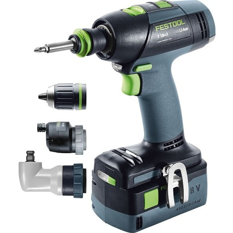 Perceuse visseuse FESTOOL T 18+3 SET - 2 Batteries, chargeur, coffret Systainer 2 + Avec renvoi d'angle FastFix - 574758