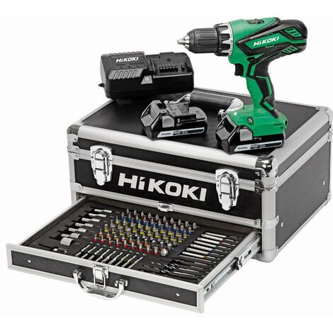 Perceuse Visseuse 18V 2.5Ah Li-Ion HIKOKI - 2 batteries + Coffret alu 100 accessoires - KC18DJLFZ