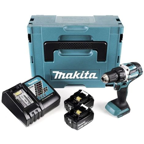 Perceuse visseuse MAKITA 18V Li-Ion 5.0 Ah Ø 13 mm + 2 batteries, chargeur, coffret - DDF484RTJ