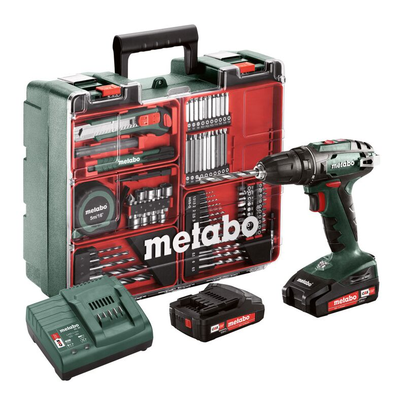 Perceuse visseuse METABO BS 18 Set + 2 batteries 18V 2.0Ah, chargeur + Coffret Atelier mobile - 602207880