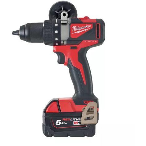 Perceuse visseuse MILWAUKEE brushless M18 BLDD2-502X - 2 batteries, chargeur, en coffret - 4933464515