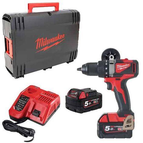 Perceuse visseuse MILWAUKEE M18 BLDD2-502X - 2 batteries 18V 5.0 Ah, chargeur, en coffret - 4933464515