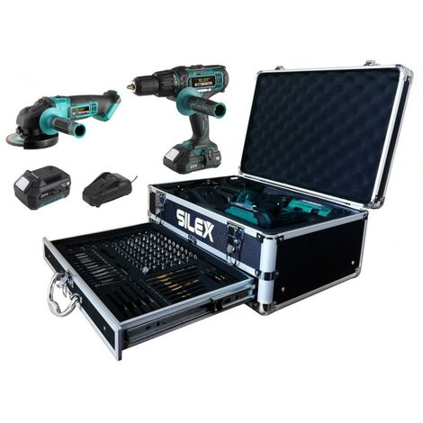 perceuse visseuse - percussion + meuleuse sans fil Silex® 2 batteries Li-Ion (2Ah & 5Ah samsung )