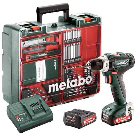 Perceuse-visseuse Powermaxx BS 12 2x2Ah + Atelier mobile Metabo