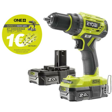 Perceuse Visseuse RYOBI 18V One Plus Brushless - 2 batteries 2,0Ah - 1 chargeur rapide - R18DD7-220S