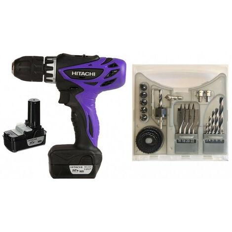 Perceuse Visseuse sans fil 12V peak 2 batt 1,5Ah DS10DFL + coffret perçage 23 pièces Limited Edition HITACHI