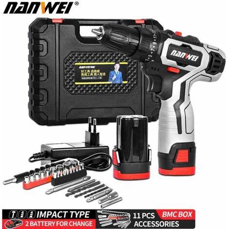 Perceuse visseuse sans fil 18V - 2 batteries + chargeur - 2 vitesses + 11 accessoires