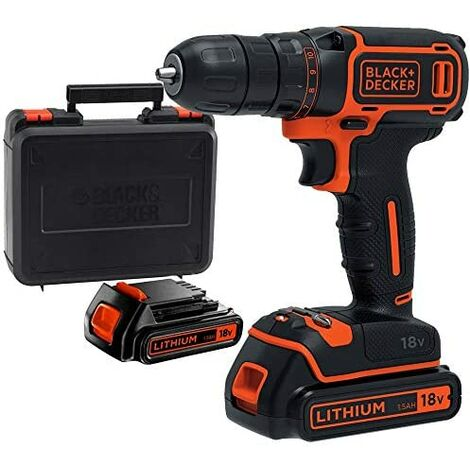 Perceuse Visseuse sans fil 18V 2 Batteries Lithium 1,5Ah Black + Decker Chargeur Mallette