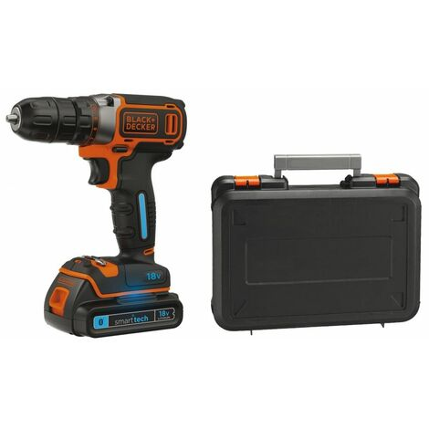Perceuse-visseuse sans fil 18V batterie lithium 1.5Ah Black + Decker Smart Tech BDCDC18KST Coffret de transport