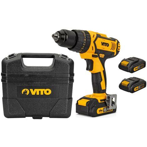 Perceuse visseuse sans fil 18V VITOPOWER 2 batteries Lithium 2.0 Ah + mallette + 18 accessoires de vissage et perçage