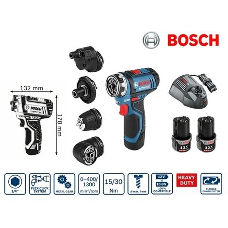 Perceuse visseuse sans fil 5 en 1 12V Li-Ion 2Ah GSR 12V-15 FC Bosch