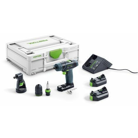 Perceuse-visseuse sans fil FESTOOL TXS 2,6-Set - 2 batteries 10.8V 2.6Ah + chargeur + Systainer + Renvoi d'angles - 576102