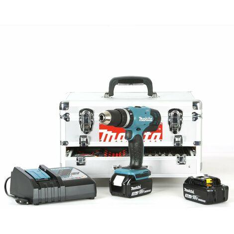 Perceuse Visseuse sans fil Makita 18V DHP DHP453RFEX - Boîtier en aluminium et 67 accessoires