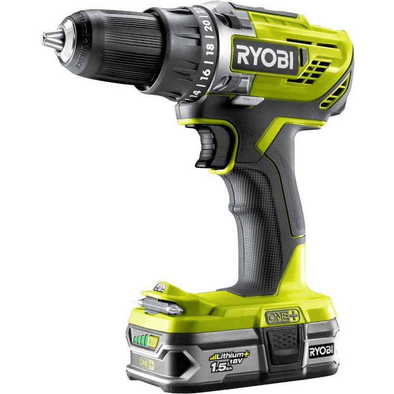 Perceuse-visseuse RYOBI 2 vitesses 18V OnePlus - Batteries Lithium - 2x 1.5 Ah - R18DD3-215S