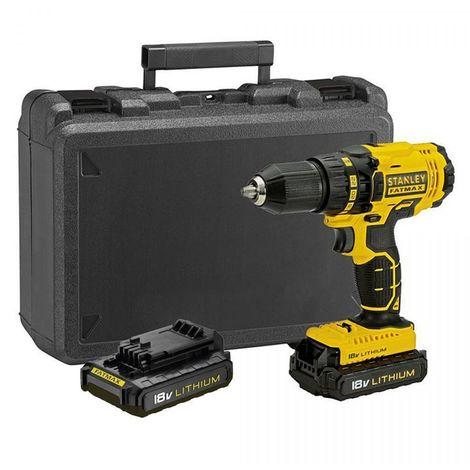 Perceuse visseuse sans fil STANLEY FATMAX 18V 2 Batteries 1,3 Ah + Chargeur FMC601C2K Mandrin autoserrant 13 mm Mallette