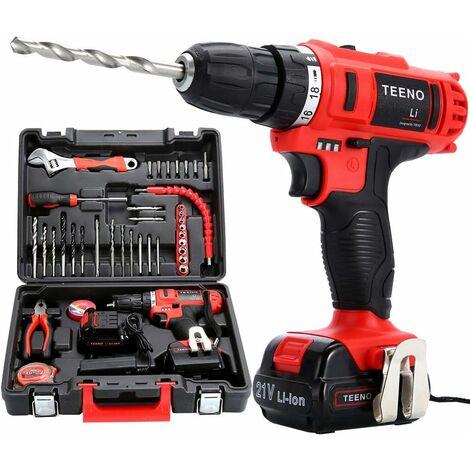 Perceuse visseuse sans fil TEENO PSR 21V + 2 batteries lithium + 41 accessoires + gants professionnels - Rouge