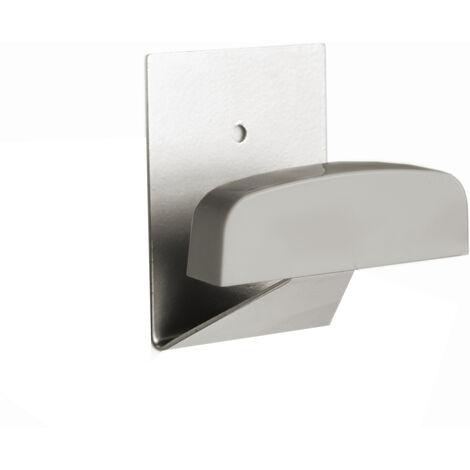 Percha adhesiva grande níquel de acero y plástico adhesiva o tornillos 40x50mm. (Köppels P3003C) (Blíster)