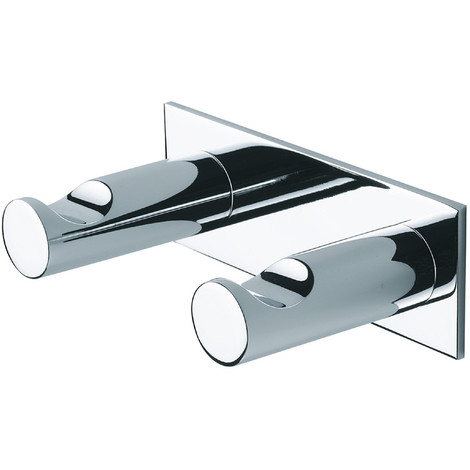 Percha de Baño doble. Dual. Cromo. Instalación: Adhesivo / Taladro
