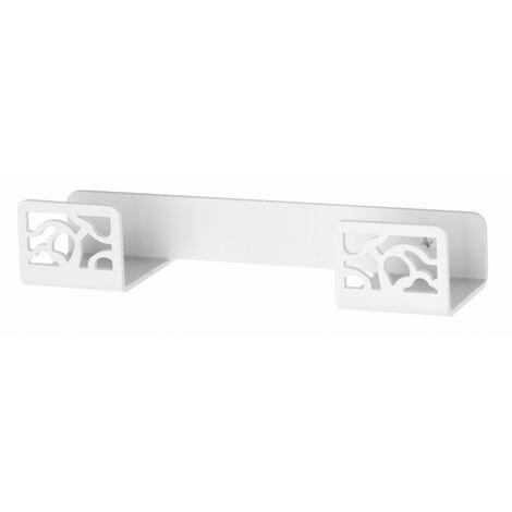 Percha doble Art Déco Blanco texturizado fijación opcional con adhesivo - CM Baños