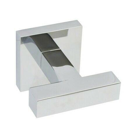 Percha doble Squadra, de latón cromado brillo, fijación opcional con adhesivo - CM Baños