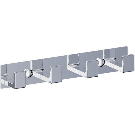 Percha para baño con 4 ganchos cuadrados de acero inoxidable con acabado en cromo con brillo. Repuestos originales garantizados Kibath