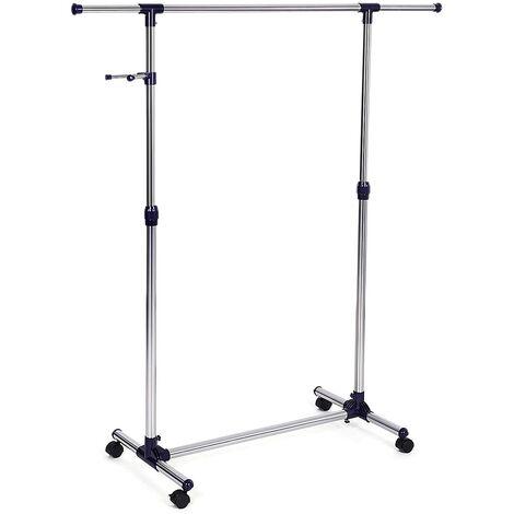 Perchero Barra para colgar ropa con ruedas y Ganchos Percha incluidos (altura ajustable entre 97 y 165cm) 150 x 44 x 165cm Gris/Azul