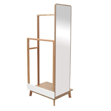 Perchero con espejo madera clara y blanco TAYA