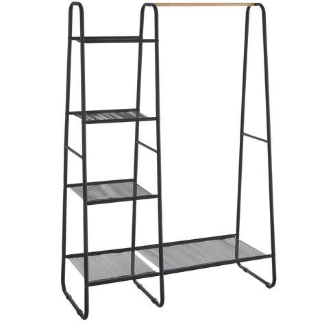 Perchero con estantería negro de metal y textileno de 101x40x150 cm