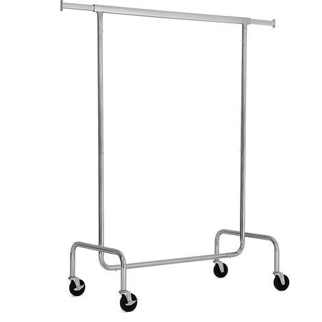 Perchero Cromado con Ruedas Longitud Ajustable Movible Capacidad de Carga de 130kg (110-150) x 55 x 160cm HSR11S - Silver