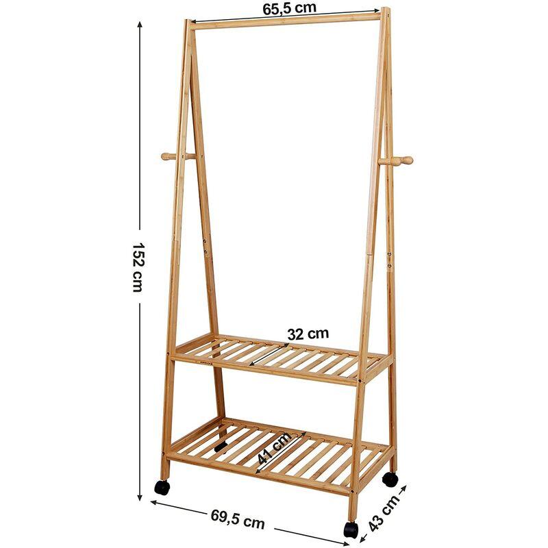 descuento mejor valorado venta al por mayor comprar el más nuevo Perchero de bambú Zapatero Colgador ropa Estantería de 2 baldas 4 ruedas  para prendas Soporte para colgar ropa Estilo RCR52N
