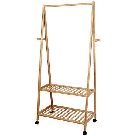 Perchero de bambú Zapatero Colgador ropa Estantería de 2 baldas 4 ruedas para prendas Soporte para colgar ropa Estilo RCR52N