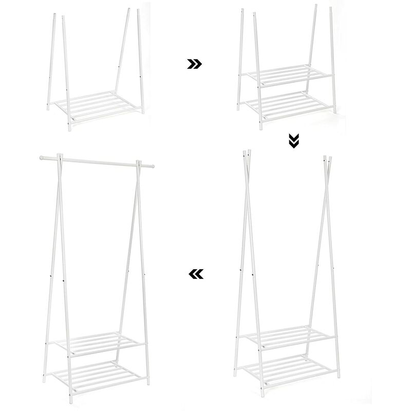 SONGMICS Perchero de Acero Colgador para Ropa Zapatero con 2 estantes 87,5 x 41 x 155 cm Blanco Crema HSR05W