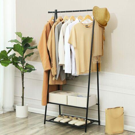 Perchero de hierro Colgador para ropa Zapatero con 2 estantes 87.5 x 41 x 155cm Negro/Blanco