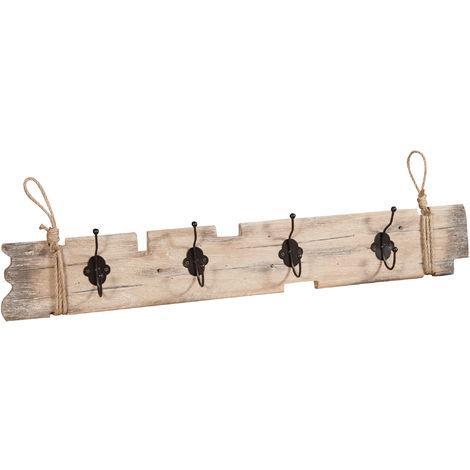 Perchero de la pared de madera maciza L79,5XPR7XH12 cm