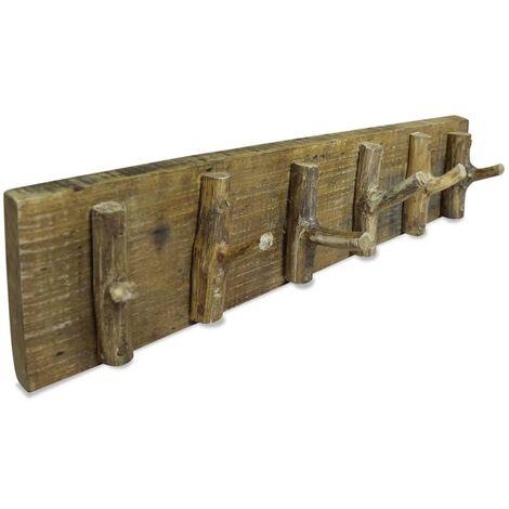 Perchero de madera maciza reciclada 60x15 cm