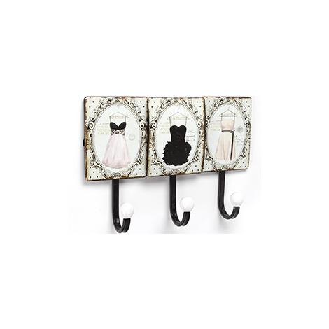 Perchero de pared adhesivo y atornillable, estilo decorativo, fabricado en hierro, con ilustración vintage de vestidos y 3 perchas