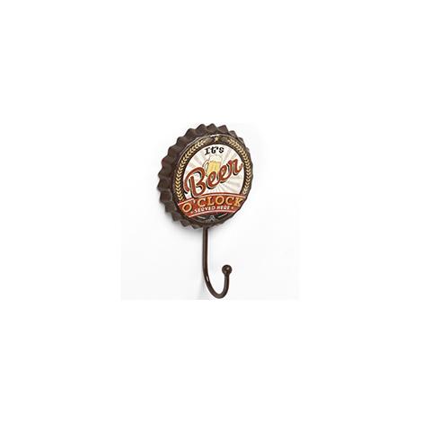 Perchero de pared adhesivo y atornillable, estilo decorativo, fabricado en hierro, con ilustrado de chapa de cerveza y 1 percha