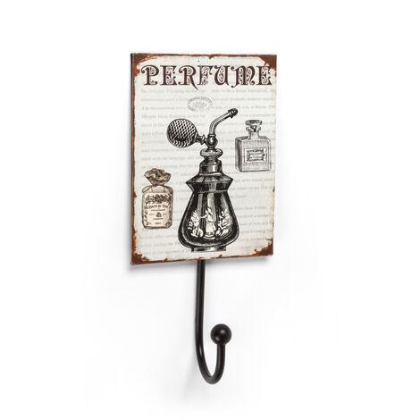 Perchero de pared adhesivo y atornillable, estilo decorativo, fabricado en hierro, con ilustrado de perfume y 1 percha