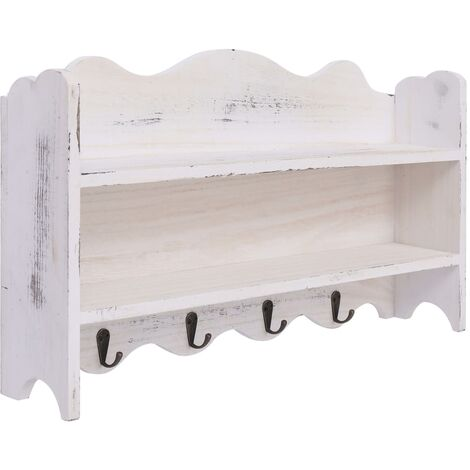 Perchero de pared de madera blanco 50x10x30 cm