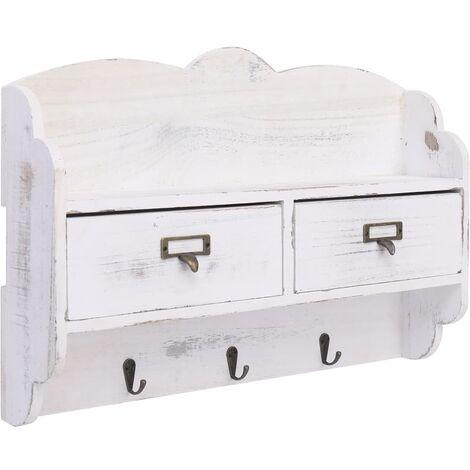 Perchero de pared de madera blanco 50x10x34 cm - Blanco