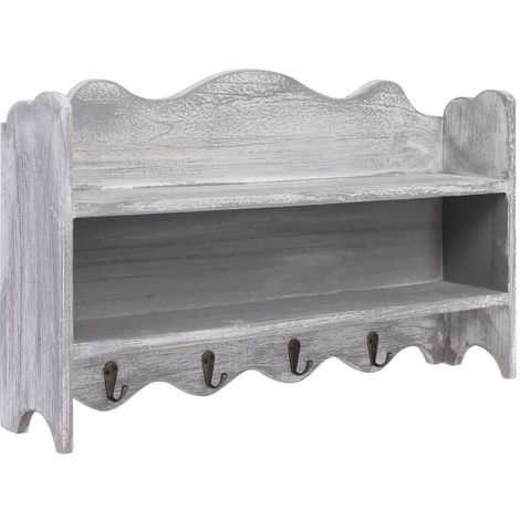 Perchero de pared de madera gris 50x10x30 cm