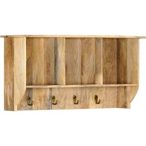 Perchero de pared de madera maciza de mango 70x20x36 cm