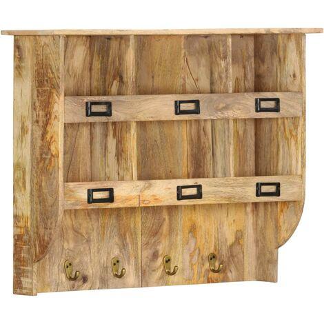 Perchero de pared de madera maciza de mango 70x20x55 cm