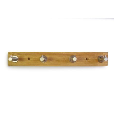 Perchero de pared decorativo atornillable, fabricado en madera y acero inoxidable, con acabado inox mate y 4 perchas