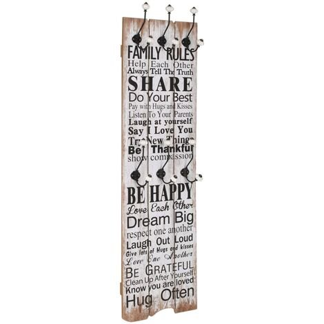 Perchero de pared FAMILY RULES con 6 ganchos 120x40 cm