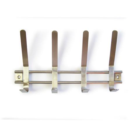 Perchero de pared funcional atornillable, fabricado en acero inoxidable y con 4 perchas