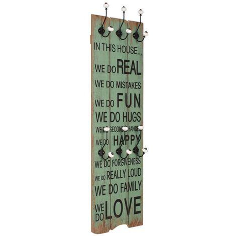 Perchero de pared HAPPY LOVE con 6 ganchos 120x40 cm